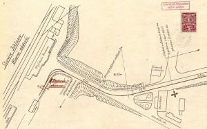 Plán konečné stanice u nádraží a nádražní pošty.