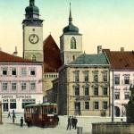 Colorovaná pohlednice s tramvají