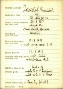 List z vojenského archivu, dokládající smrt jmenovce mého dědečka...